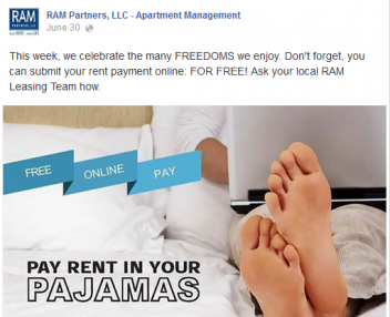 online rent payments, awareness campaign, facebook